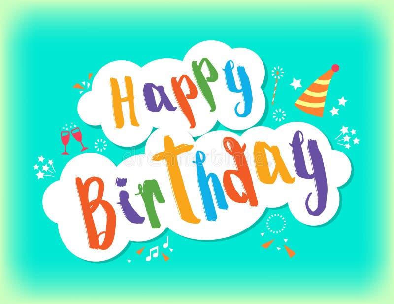 生日快乐招呼的文本五颜六色的生日字法 库存例证