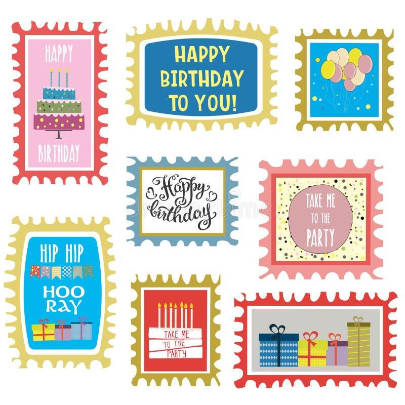 生日快乐标记集合,在白色backg隔绝的手拉的卡片 向量例证