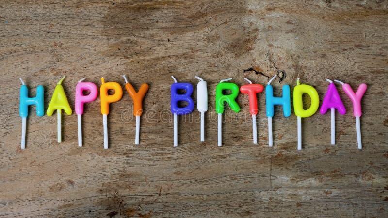 生日快乐概念的蜡烛 库存照片