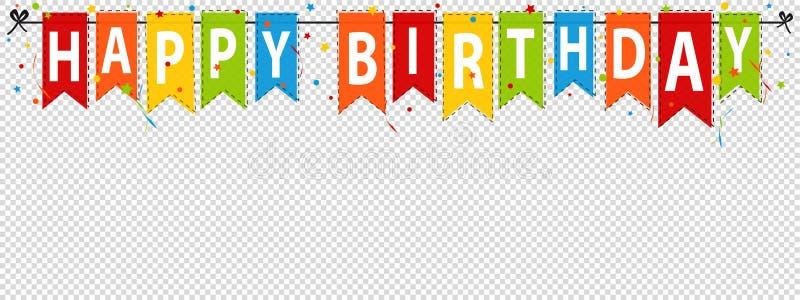 生日快乐横幅,在透明-编辑可能的传染媒介例证-隔绝的背景 向量例证
