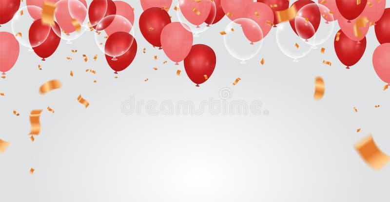 生日快乐气球五颜六色的庆祝背景eps 库存例证