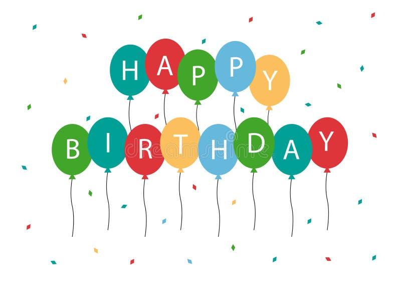 生日快乐气球传染媒介卡片 皇族释放例证