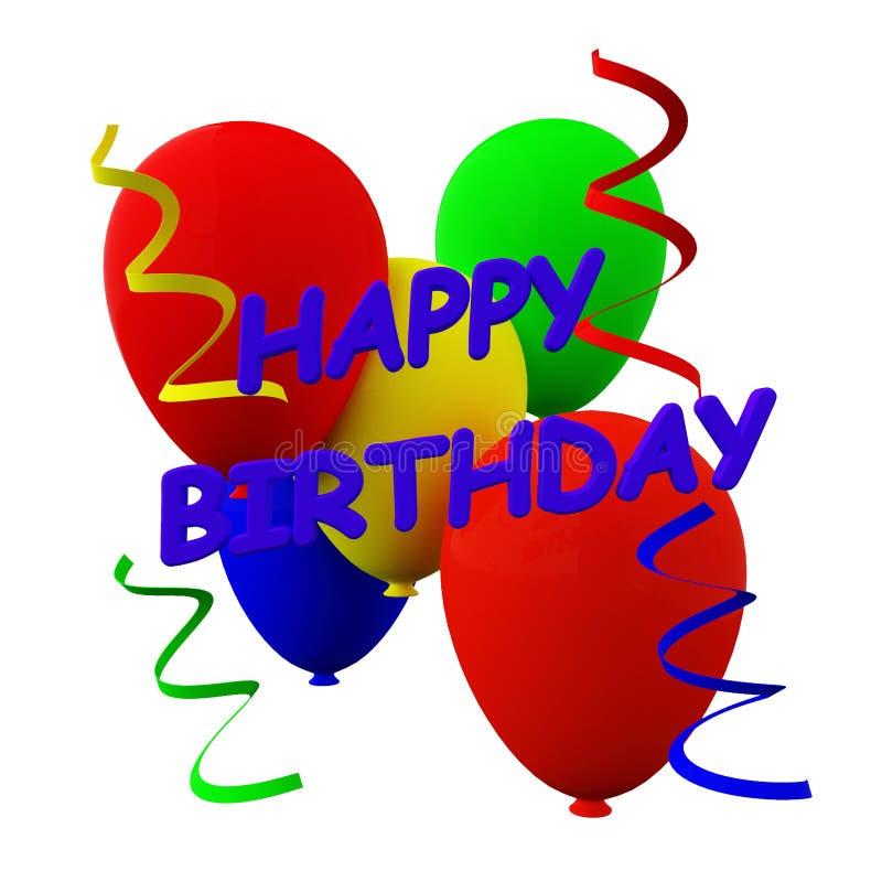 生日快乐气球和飘带 库存图片