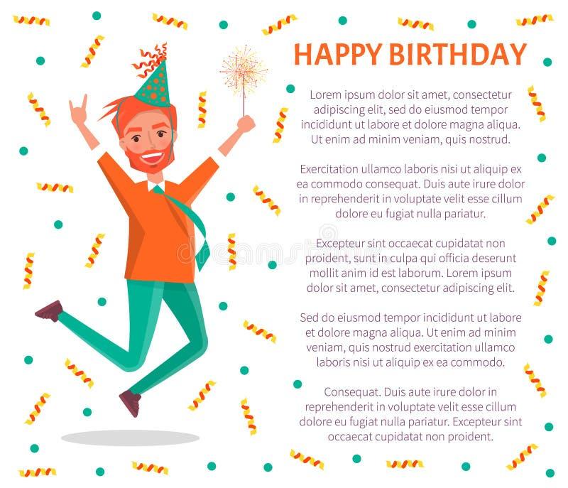 生日快乐海报,红头发人有胡子的人跳跃 向量例证