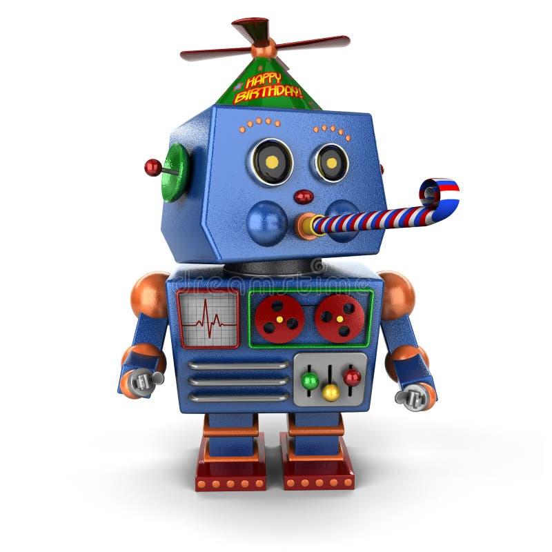生日快乐玩具机器人 皇族释放例证