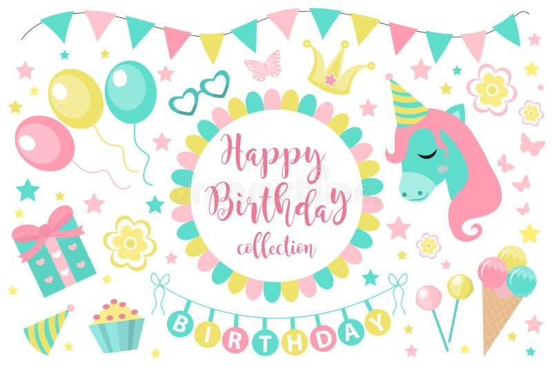 生日快乐现代逗人喜爱的象集合,动画片平的样式 设计元素,气球的党汇集与独角兽的 向量例证
