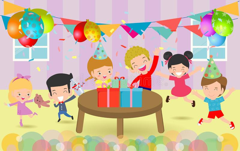 生日快乐生日聚会,孩子的传染媒介例证集会,生日庆祝,孩子的生日宴会 库存例证