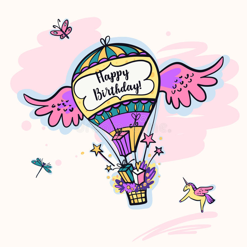 生日快乐礼物的图象气球 皇族释放例证