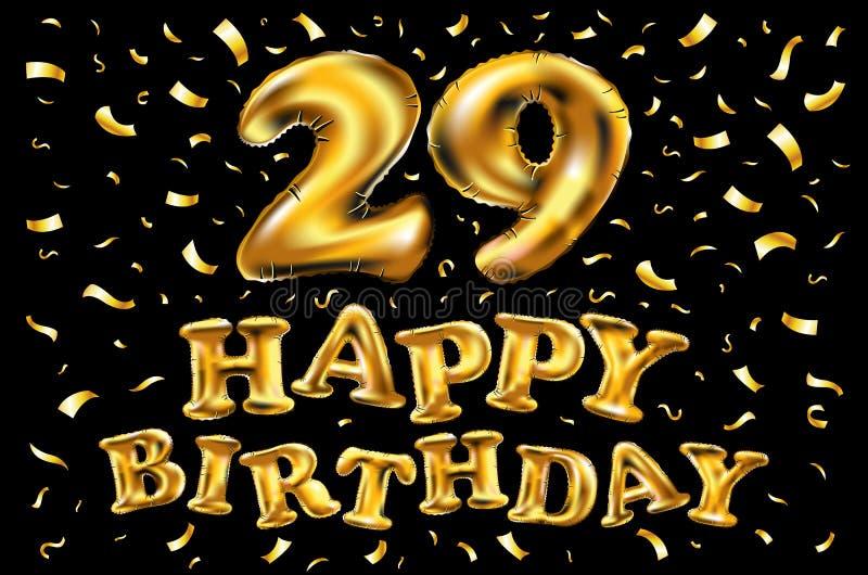 生日快乐第29,贺卡在乐趣艺术样式的二十九年与蛋糕和蜡烛 周年邀请, cong 皇族释放例证