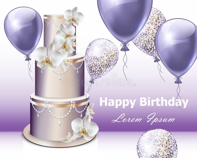 生日快乐蛋糕和气球传染媒介 党邀请礼物背景 向量例证