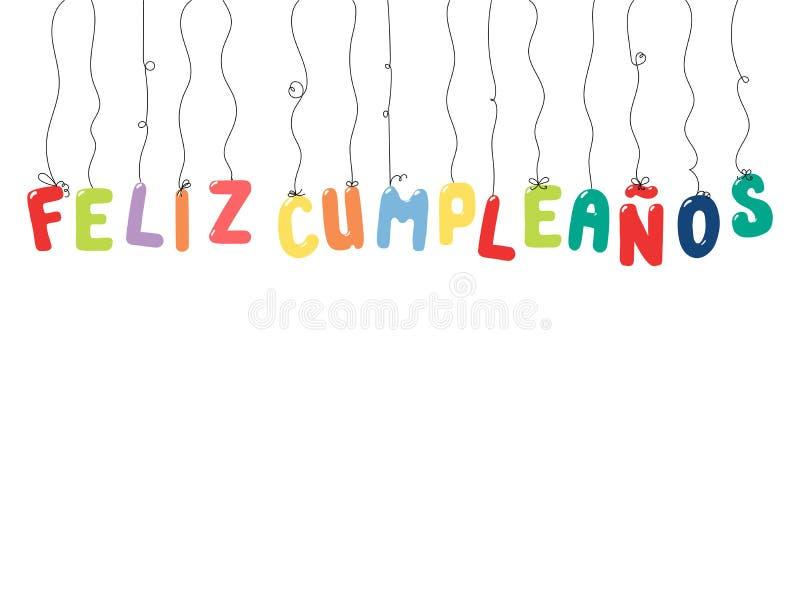 生日快乐西班牙人行情 向量例证