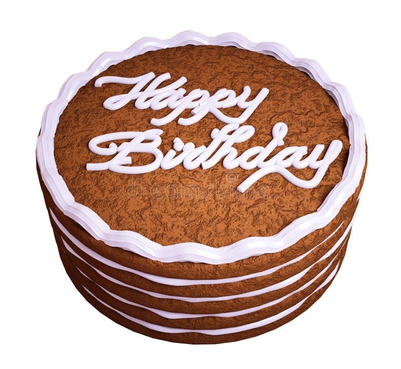 生日快乐:将夹在中间的巧克力蛋糕 皇族释放例证