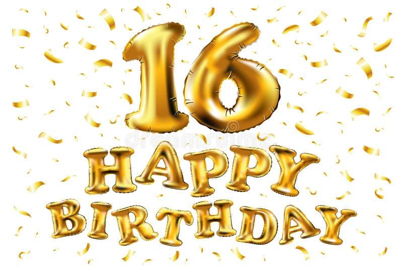 生日快乐16年周年喜悦庆祝 3d与精采金气球的例证&您的uniq的欢欣五彩纸屑 皇族释放例证