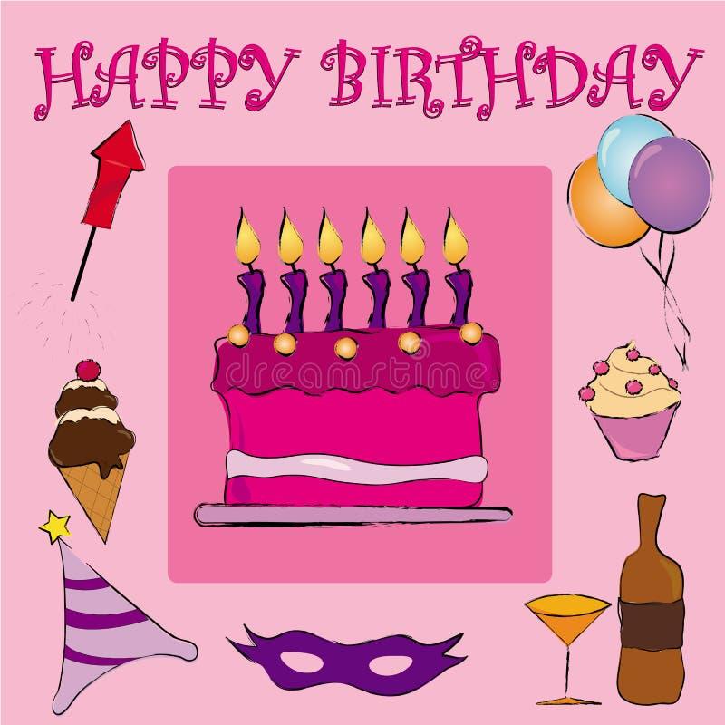 生日愉快的粉红色 向量例证