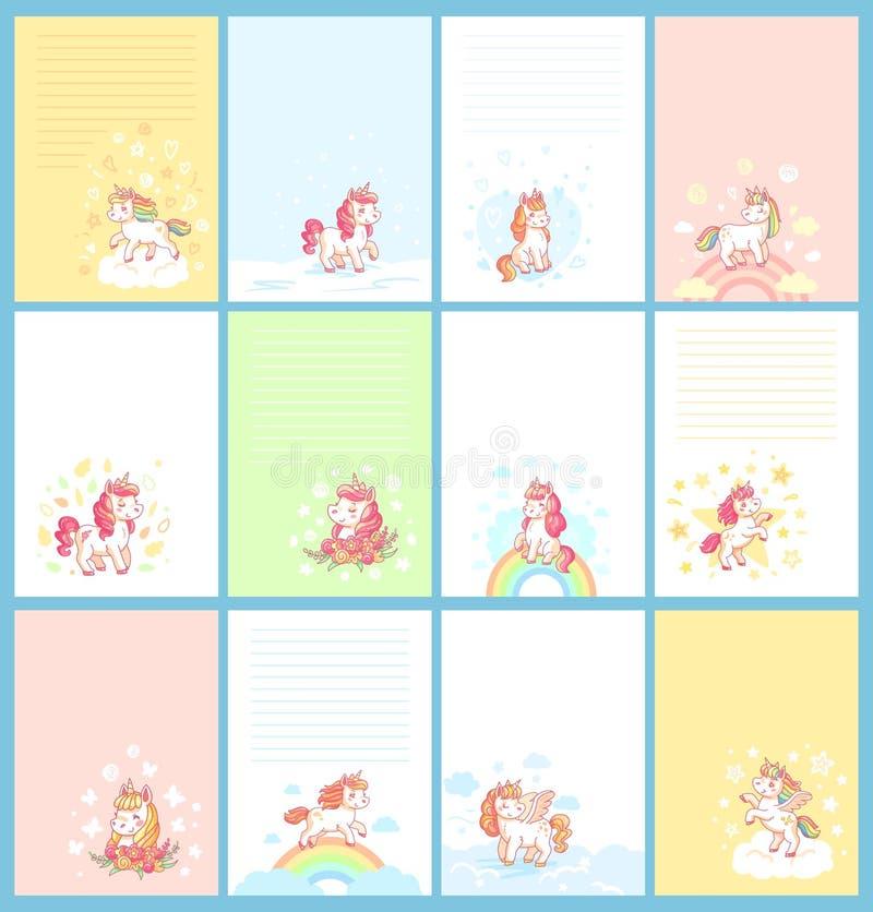 生日日历、女孩学报卡片、孩子笔记或计划者的不可思议的逗人喜爱的独角兽动画片模板孩子的 看板卡 皇族释放例证
