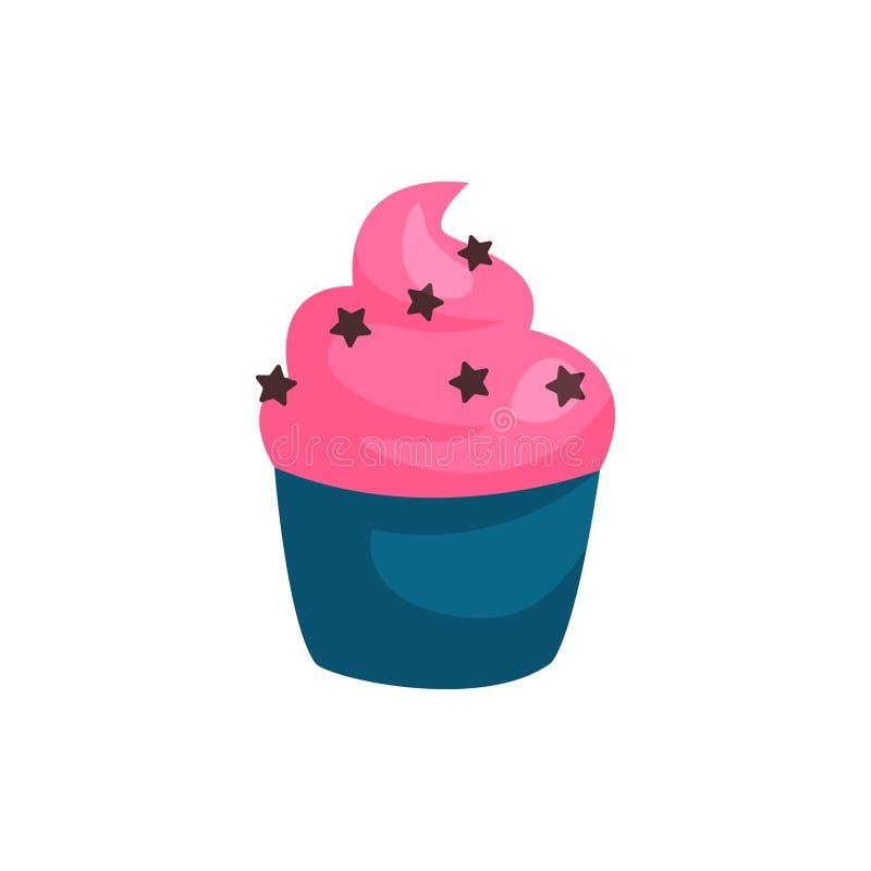 生日杯形蛋糕或松饼与草莓奶油 鲜美点心的概念 贺卡的图形设计元素 库存例证