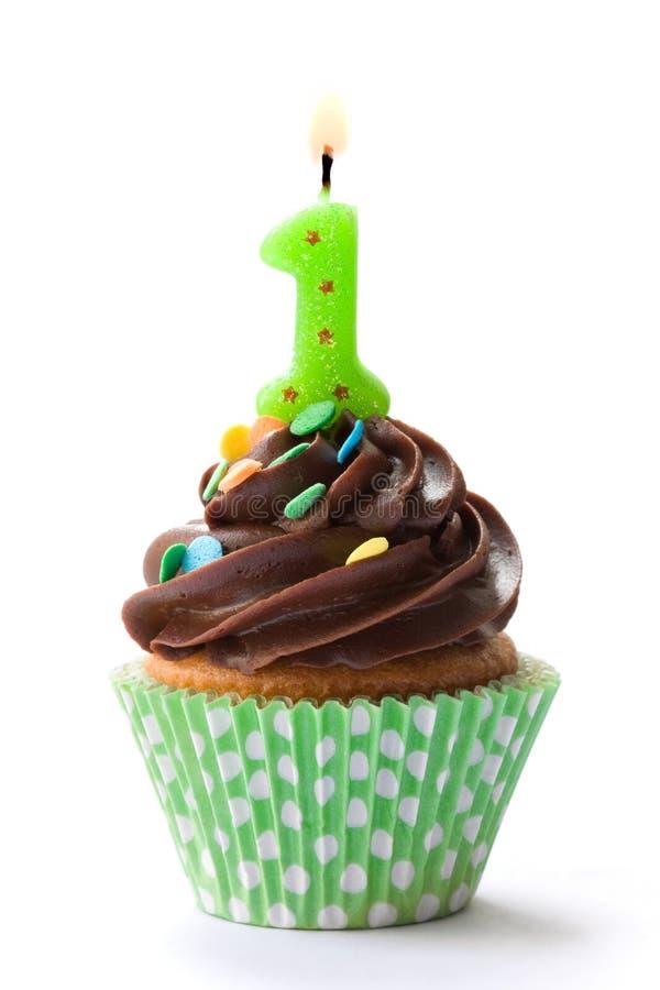 生日杯形蛋糕第一 库存图片