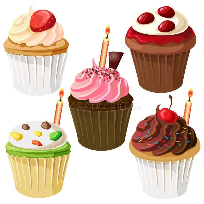 生日杯形蛋糕象集合 皇族释放例证
