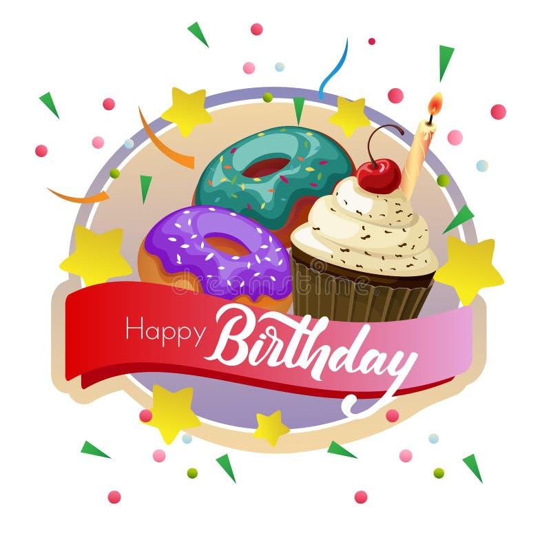 生日标签用杯形蛋糕和多福饼 皇族释放例证