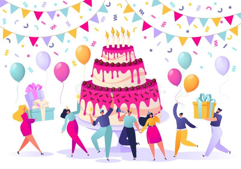 生日概念 人们运载礼物,吹他们的口哨,在与罐头的大,明亮,鲜美蛋糕附近跳舞并且庆祝假日 皇族释放例证