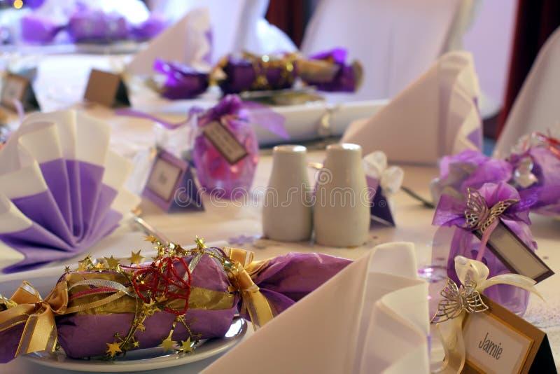 生日横向设置表婚礼 免版税库存照片