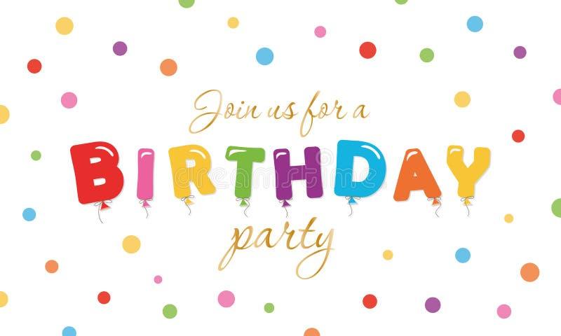 生日欢乐背景 党与气球的邀请横幅上色了信件和五彩纸屑 皇族释放例证