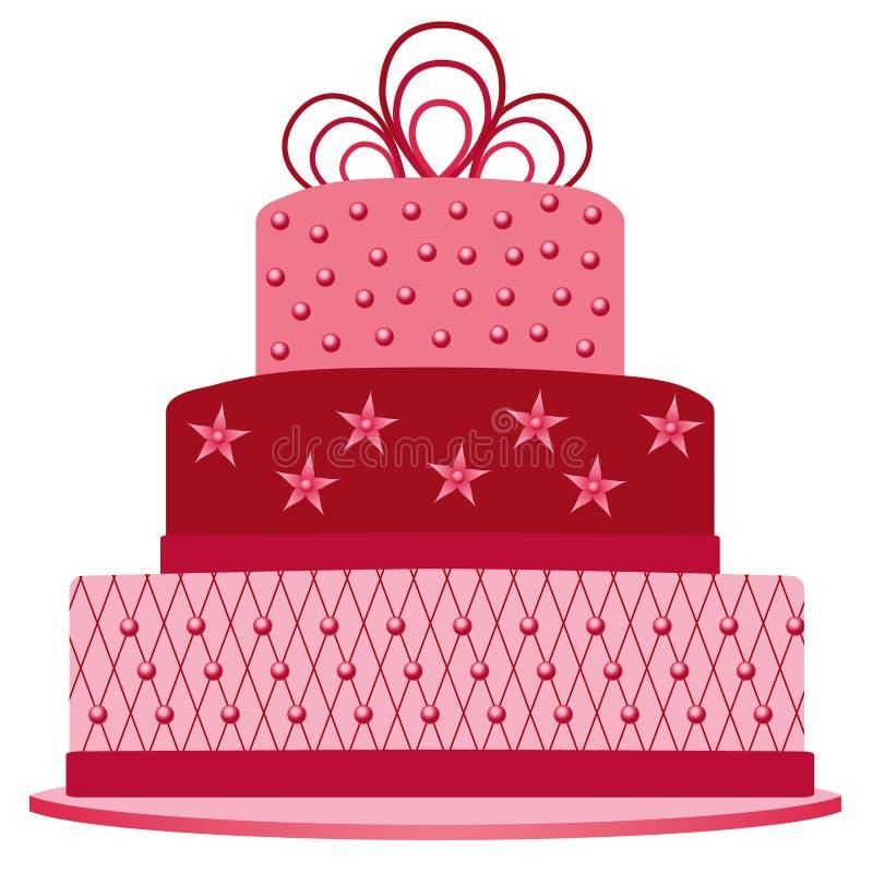 生日的桃红色蛋糕 皇族释放例证