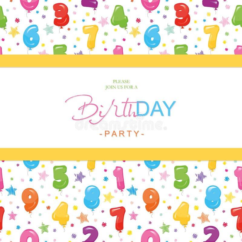 生日聚会孩子的邀请卡片 与光滑的五颜六色的气球的包括的无缝的样式编号 皇族释放例证