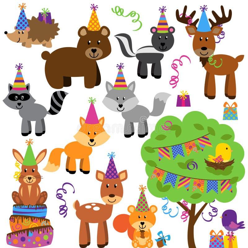 生日聚会森林或森林地动物的传染媒介汇集 向量例证