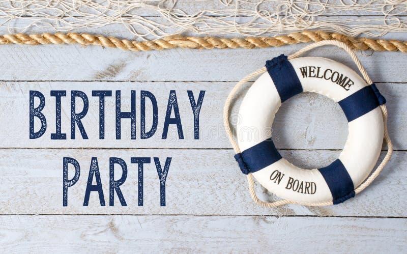 生日聚会-欢迎在船上 库存图片