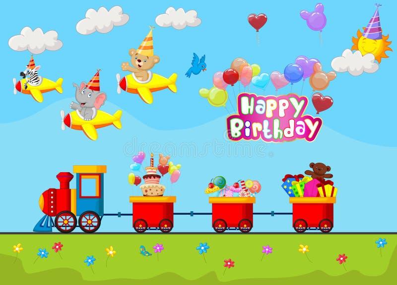 生日背景动画片 向量例证