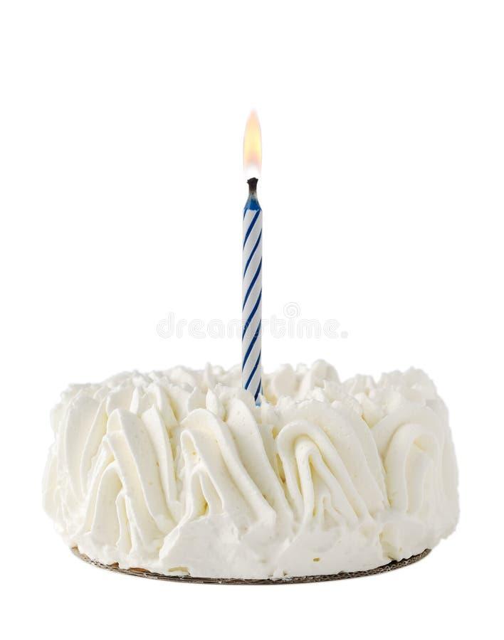 生日蓝色蛋糕蜡烛愉快的一丝毫 库存图片
