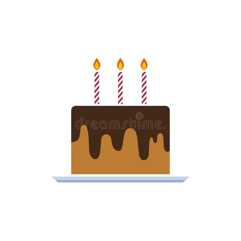 生日蛋糕与蜡烛的传染媒介例证 在白色背景的奶油馅饼 艺术商标设计 库存照片