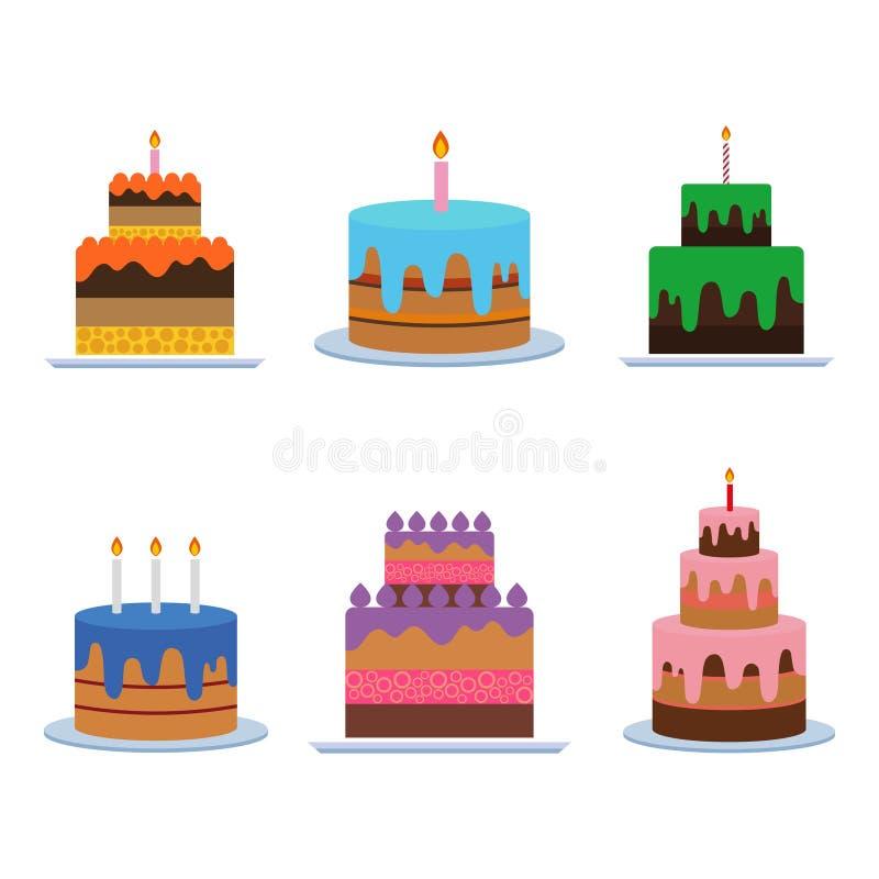 生日蛋糕传染媒介 与蜡烛的甜奶油馅饼在白色背景 也corel凹道例证向量 图库摄影