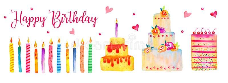 生日蛋糕和蜡烛集合 风格化水彩手拉的动画片例证元素 库存例证