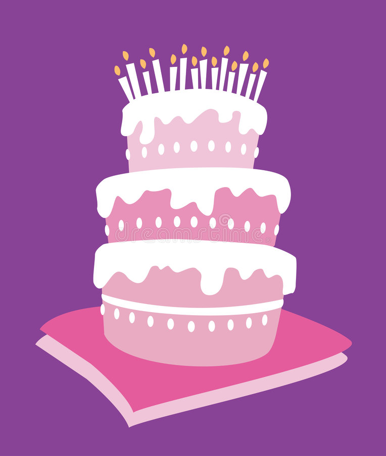 生日蛋糕女孩 库存例证