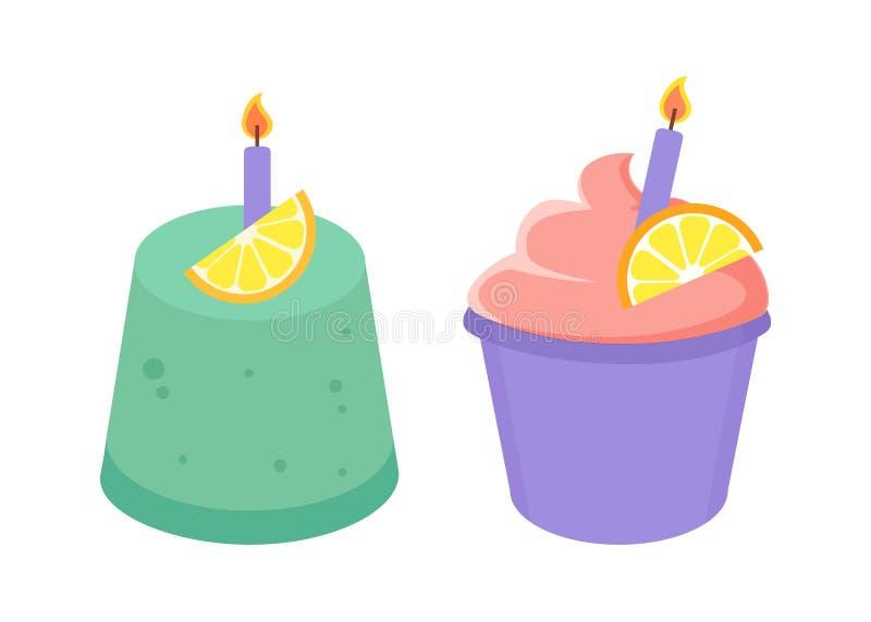 生日蛋糕汇集传染媒介例证 库存例证
