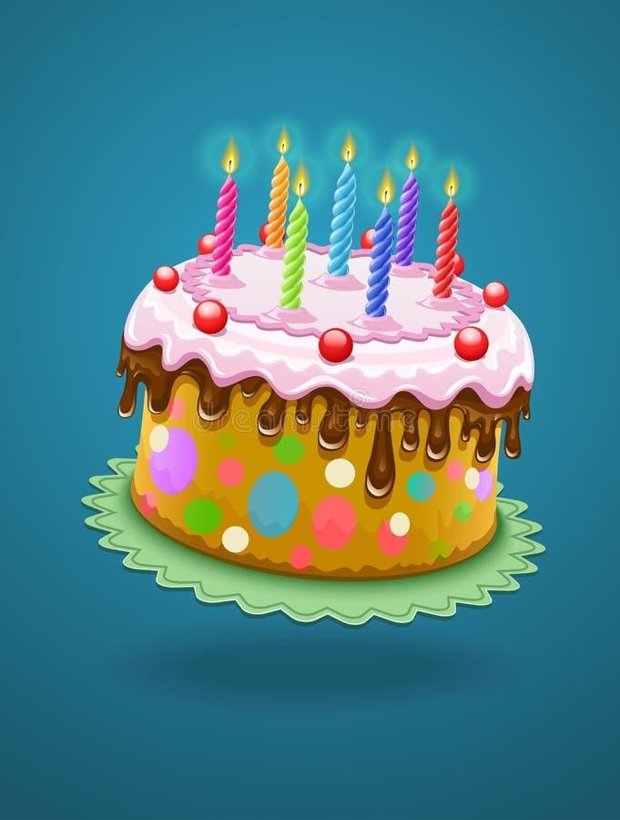 与灼烧的蜡烛的生日蛋糕 皇族释放例证