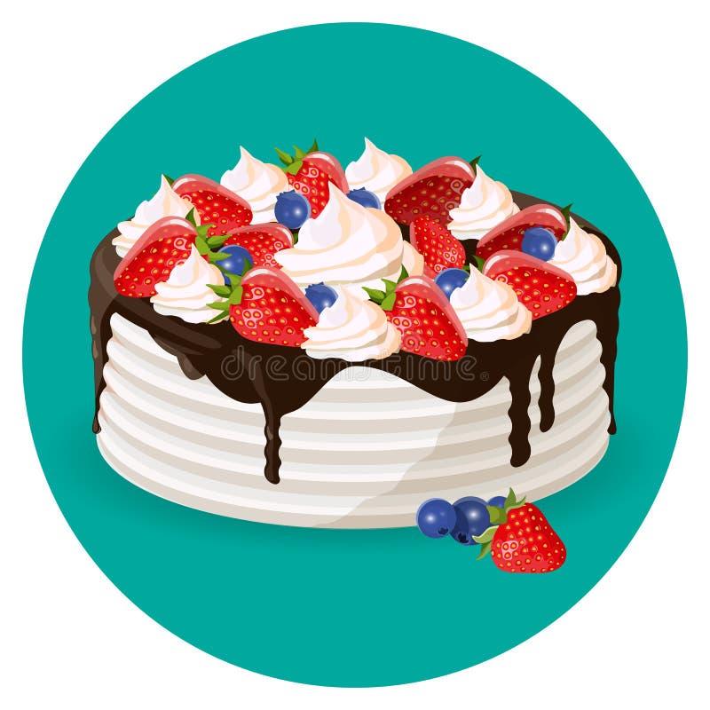 生日蛋糕用新鲜的蓝莓,草莓,乳脂状的花传染媒介 皇族释放例证