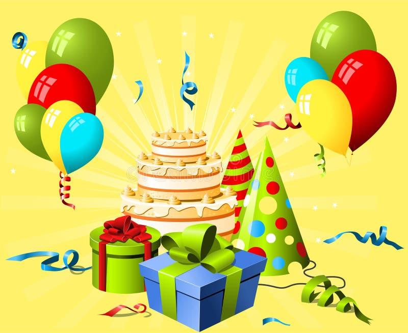 生日蛋糕礼品帽子 向量例证