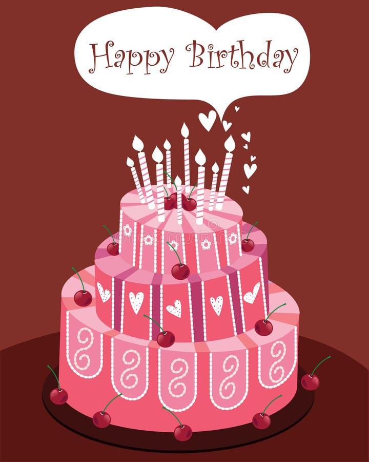 生日蛋糕粉红色 库存例证