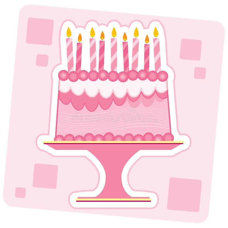 生日蛋糕粉红色 皇族释放例证