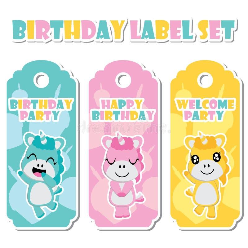 生日蛋糕背景传染媒介动画片例证的逗人喜爱的独角兽女孩生日标号组的设计 皇族释放例证