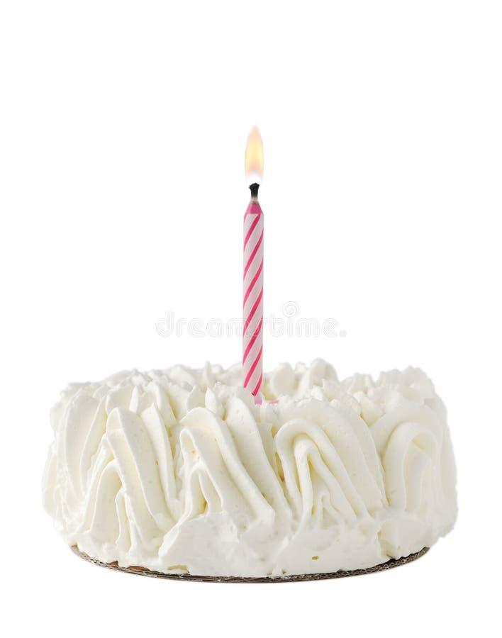 生日蛋糕蜡烛愉快的一桃红色丝毫 免版税库存照片