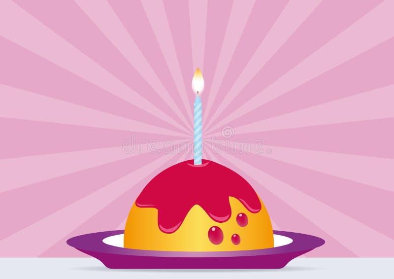 生日蛋糕蜡烛点燃了 库存例证