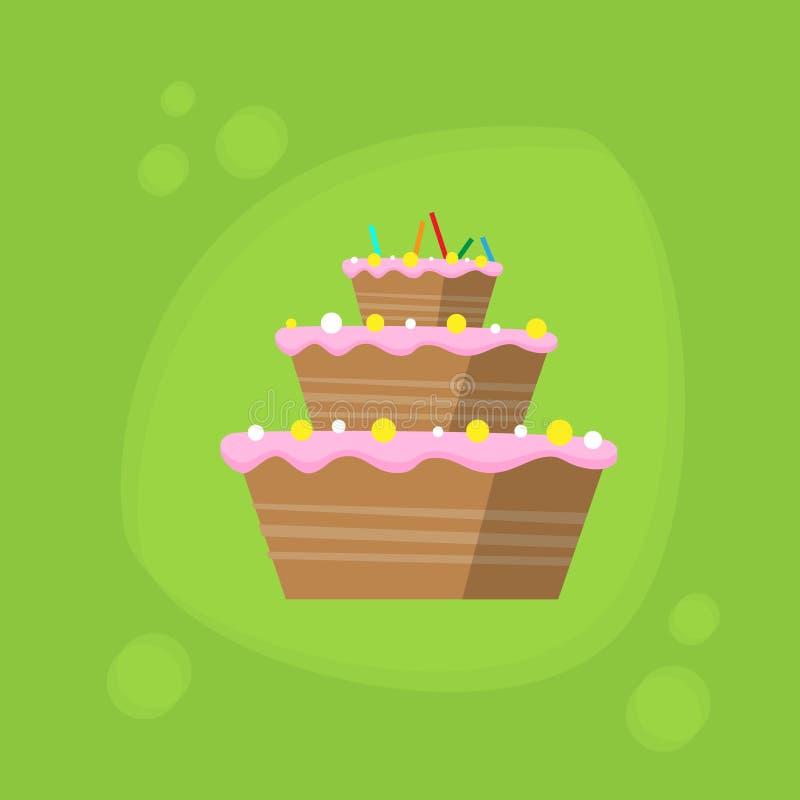 Download 生日蛋糕象平的传染媒介 向量例证. 插画 包括有 最小, 动画片, 减速火箭, 巧克力, 颜色, 节假日 - 62525857
