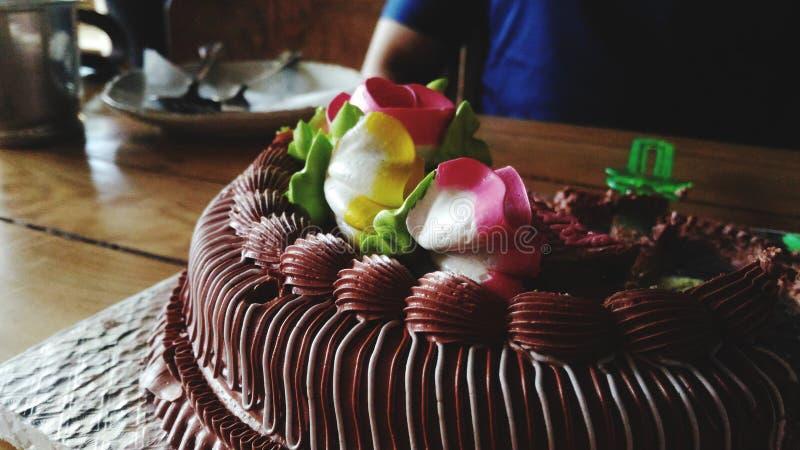 生日蛋糕 损伤蛋糕,顶面乳脂状的花装饰,chocolatecake 库存图片