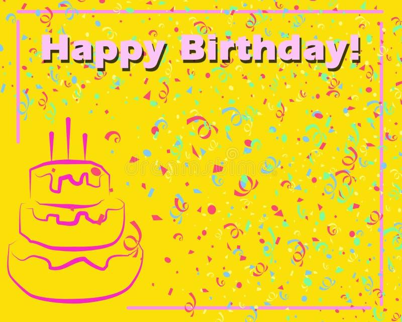生日贺卡愉快的黄色 向量例证