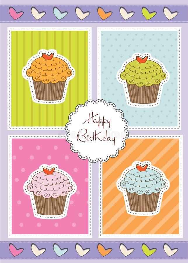 生日贺卡杯形蛋糕愉快的甜点 向量例证