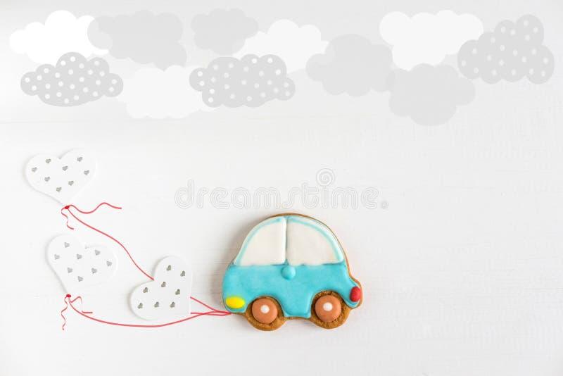 生日贺卡的框架 1的明信片 2 3 4 5年 与打字机和气球的儿童横幅 婴孩背景 图库摄影